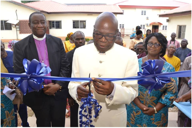 Grand patron of DOAF commission's Daughters new Kitchen/Dinning Hall under the watchful eyes of FCT CAN Secretary Bishop Mike Akpami, DOAF Director and Special guests.