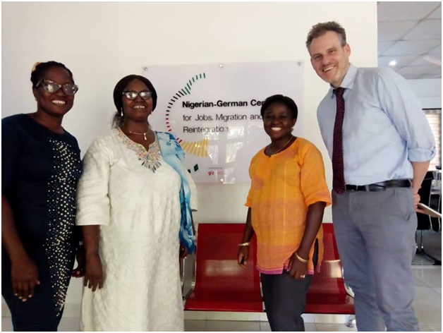 DOAF Director and some Staff members at Nigeria- German Center for Jobs, Migration and reintegration fora discuss with representative of GIZ on migration issues in Nigeria.